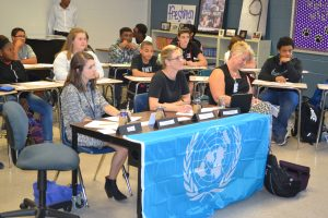 Authentic Learning Activity: United Nations Panel juries student presentations on solving social issues created by fast food.