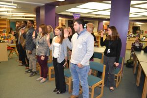 For this authentic mock trial, a 12-person community jury is sworn in.