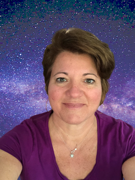 Selfie overlaid onto space background.