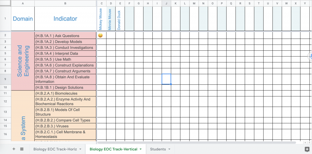 Vertical Biology Student Progress Tracker