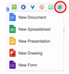 Google Docs Quick Create Drop-down Menu